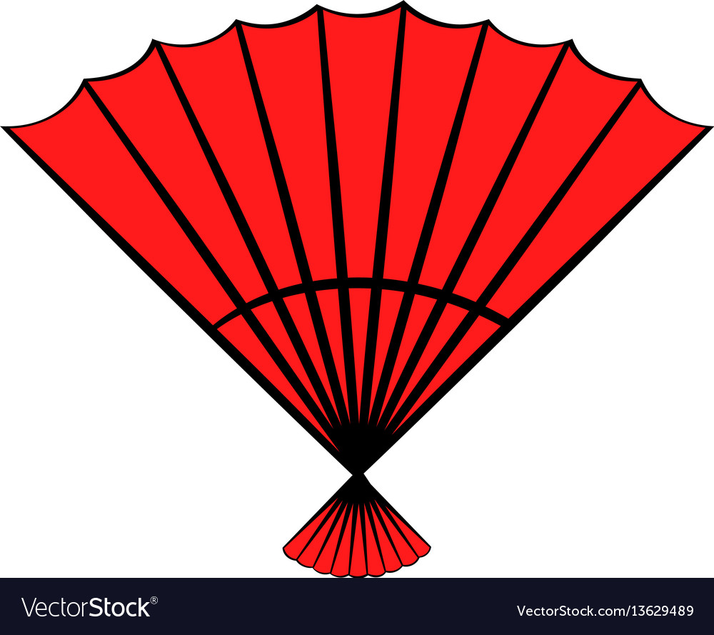 Red open hand fan icon cartoon vector image