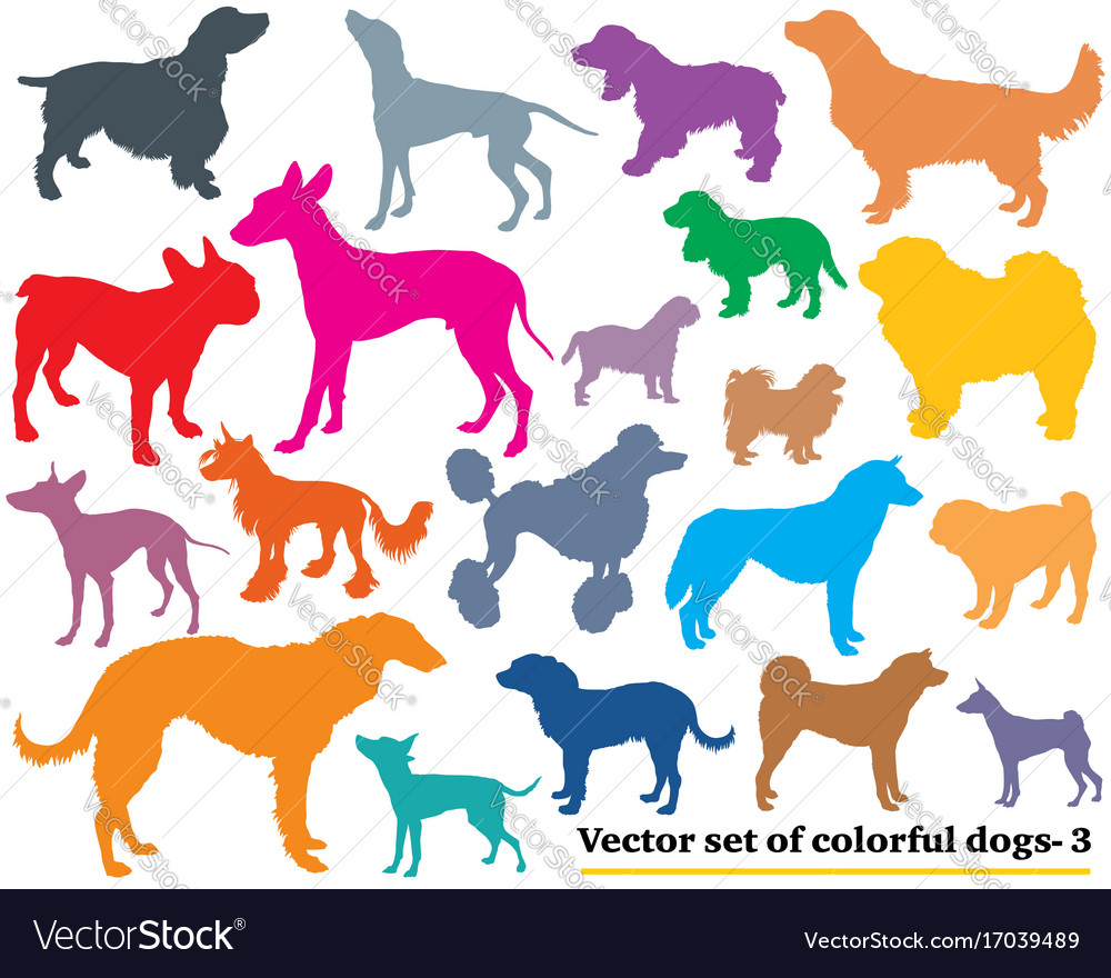 Set of colorful dogs silhouettes-3
