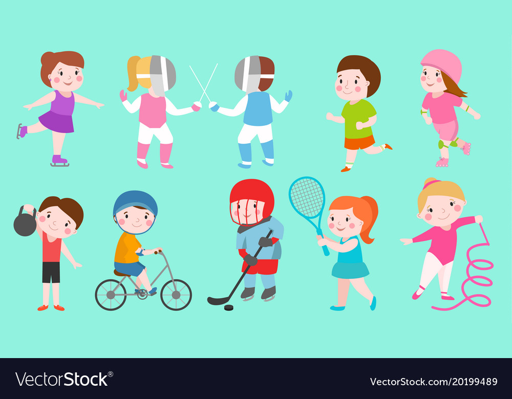 Sport kids characters boys and girls