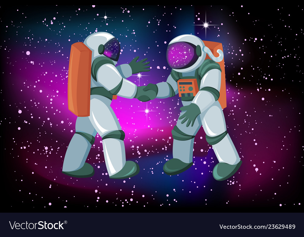 Two astronauts meeting and handshake on space