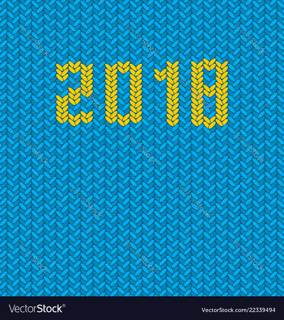 2018 new year knitted blue template background