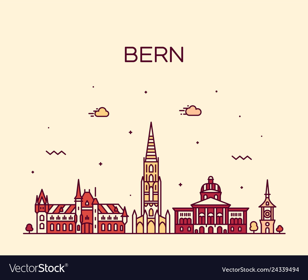 Bern skyline switzerland city linear style