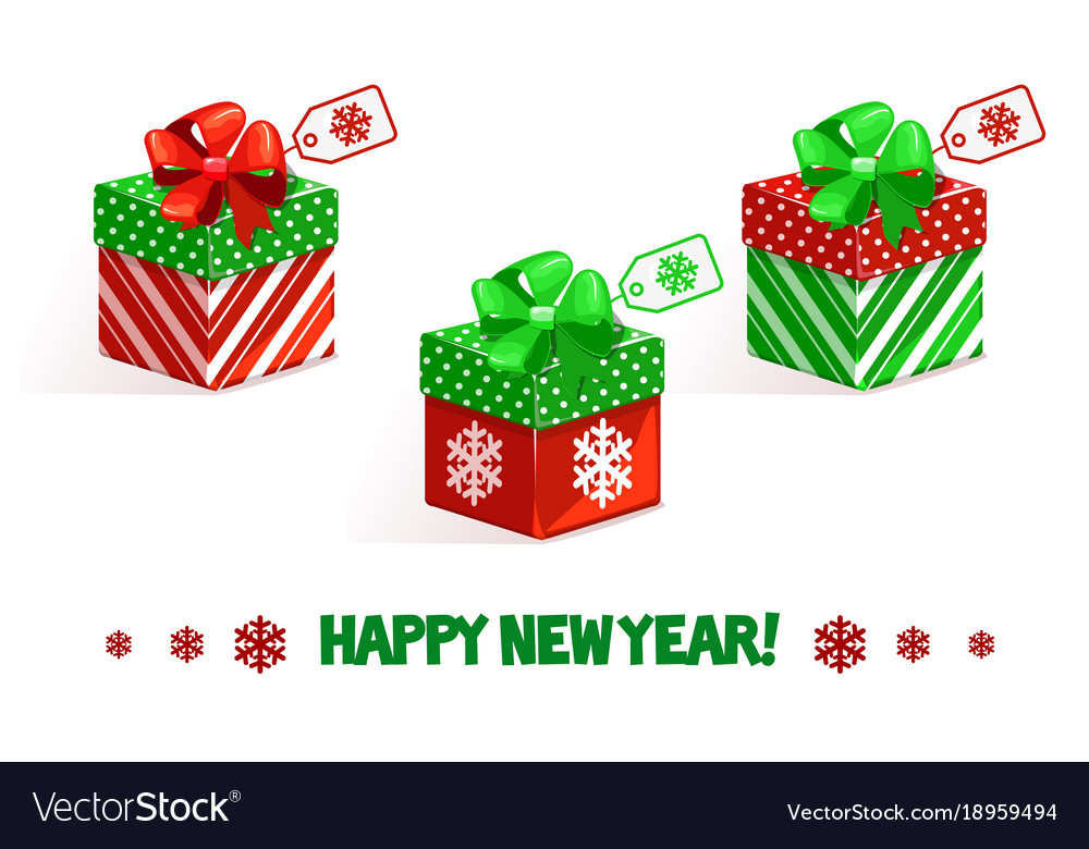 Cartoon new year green-red gifts