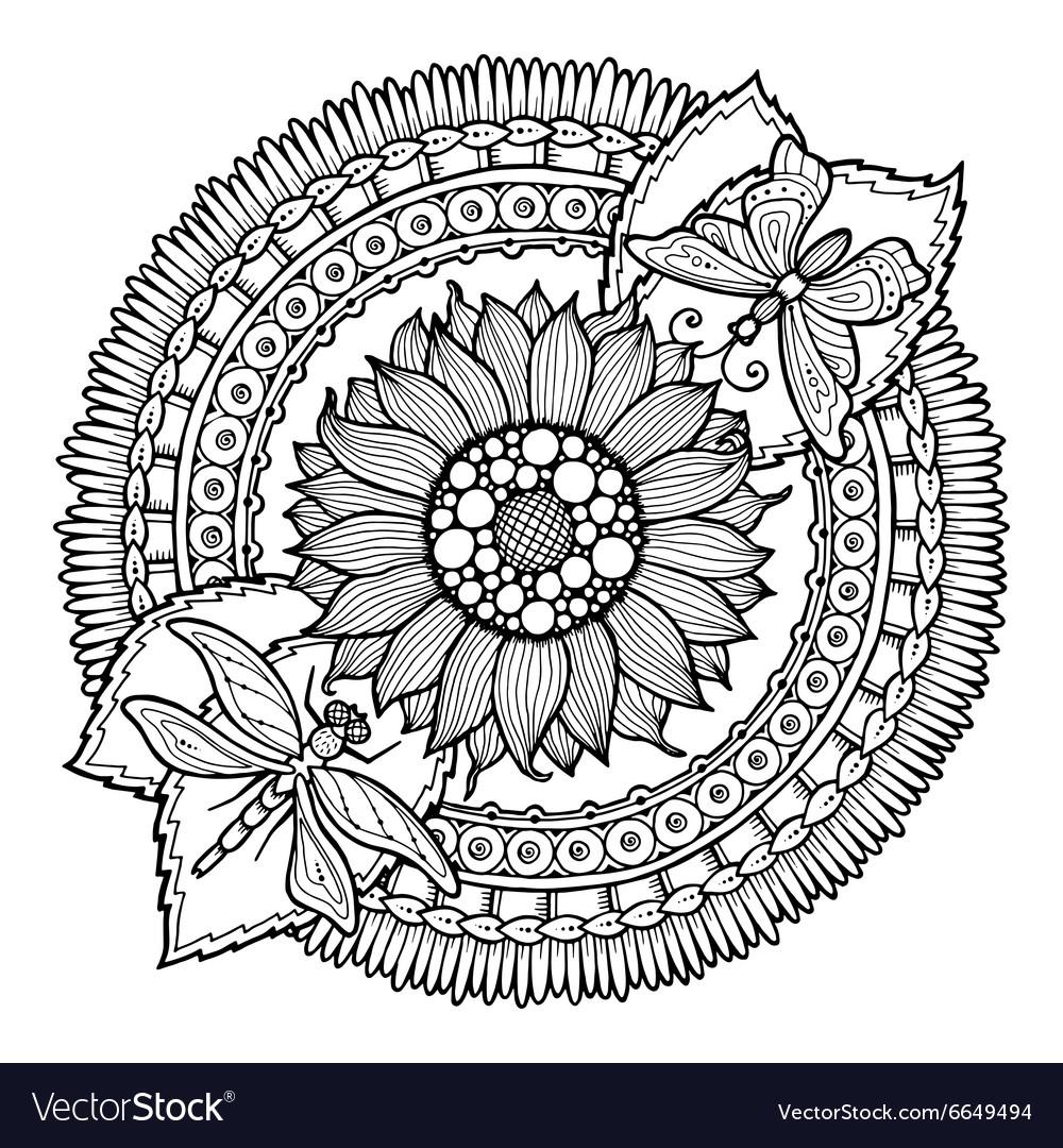 Circle summer doodle flower in mandala vector image