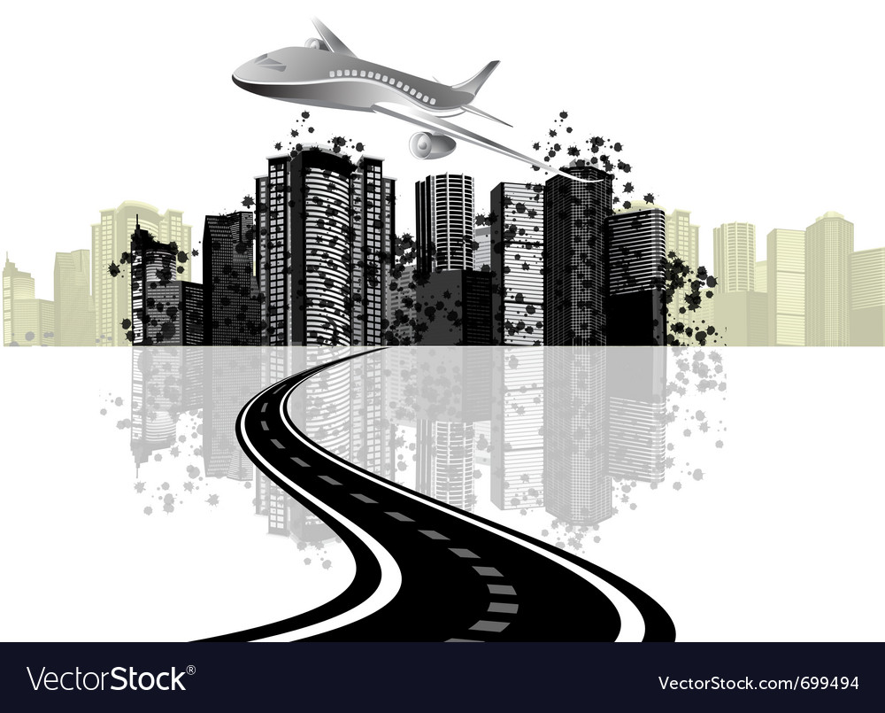 Cityscape and plane vector image