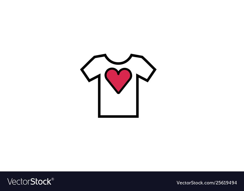 Creative tee shirt heart love logo design symbol