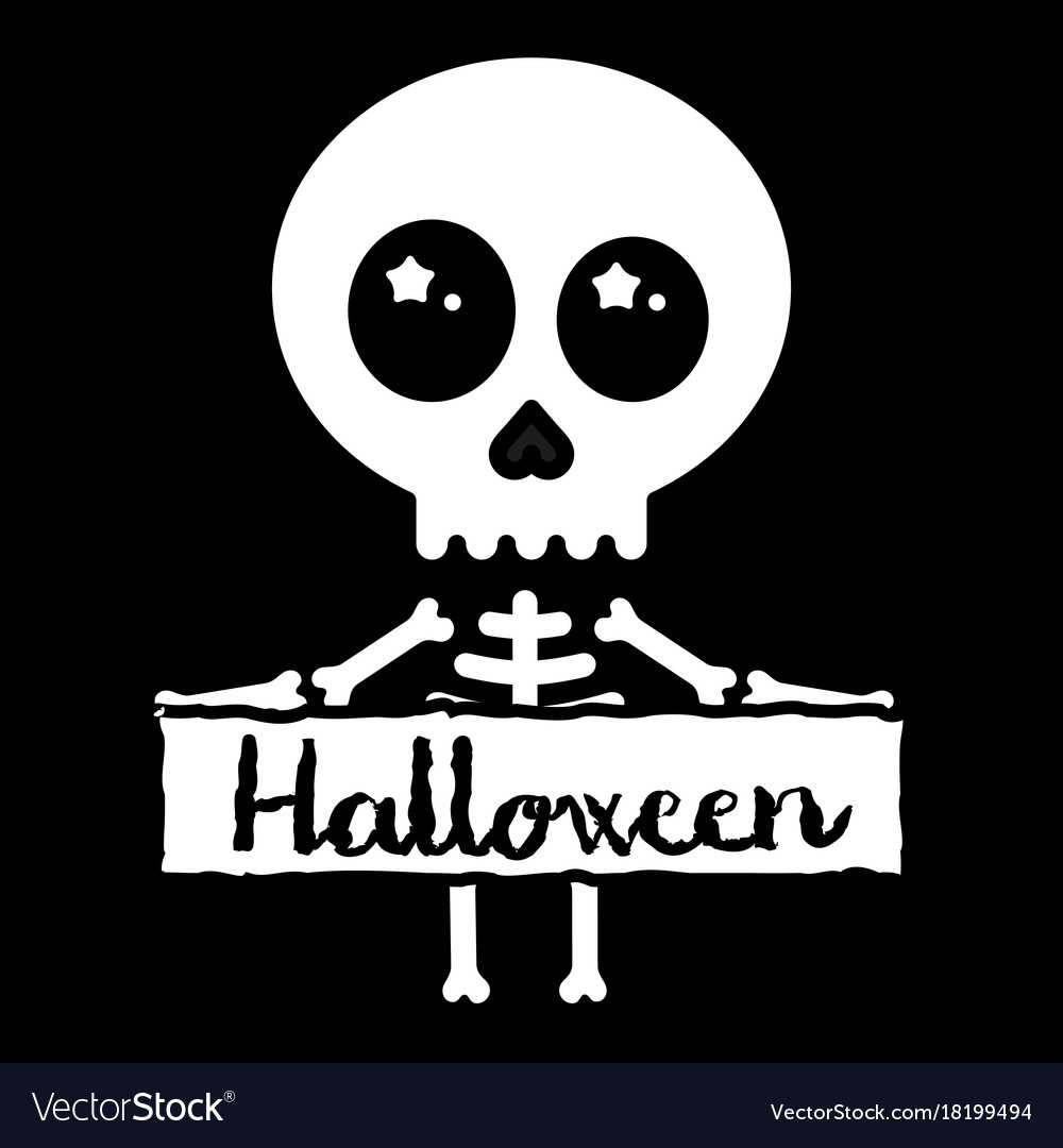 Halloween Skeleton.Cute Kawaii Skeleton Holding Halloween Sign