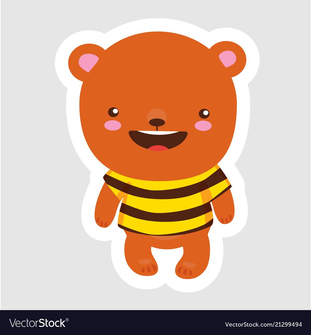 Cute little bear in cartoon style wearing bee t