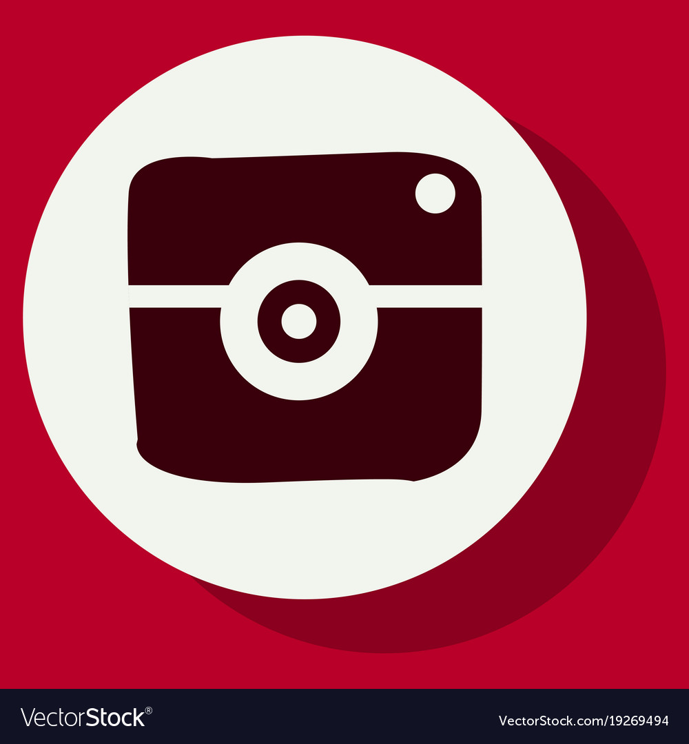 Flat web icon of modern lineart camera digital
