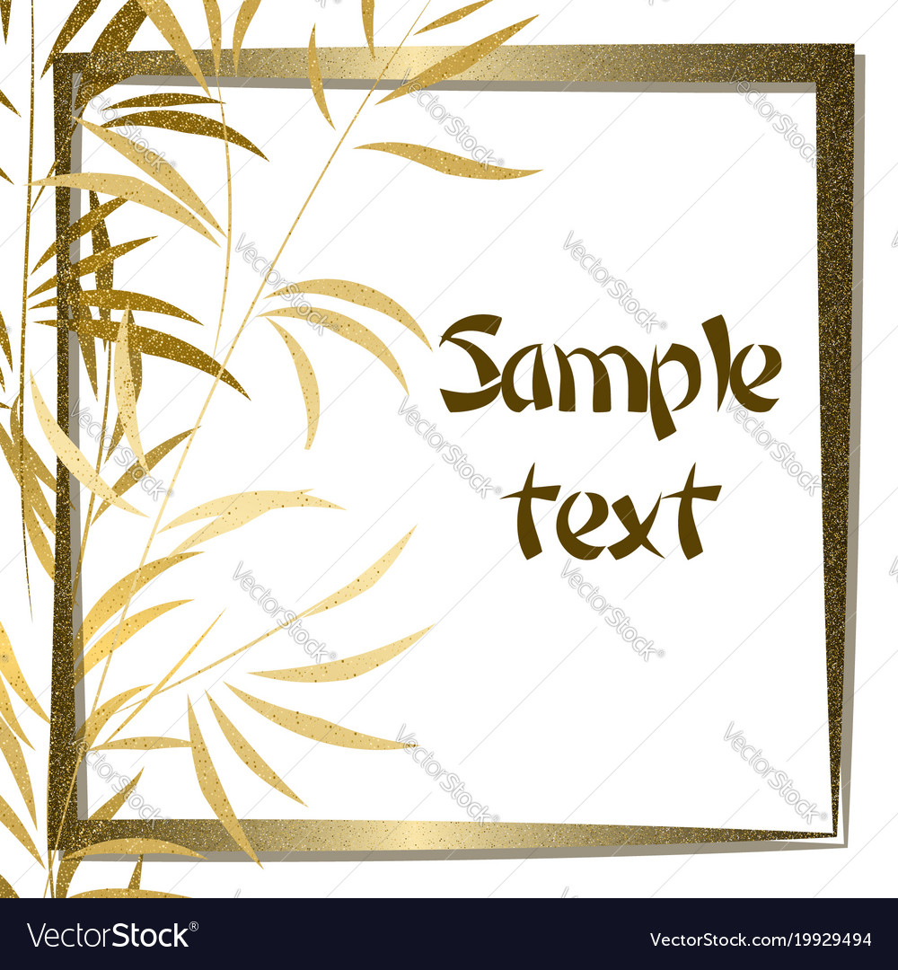 Golden bamboo background with frame vector image