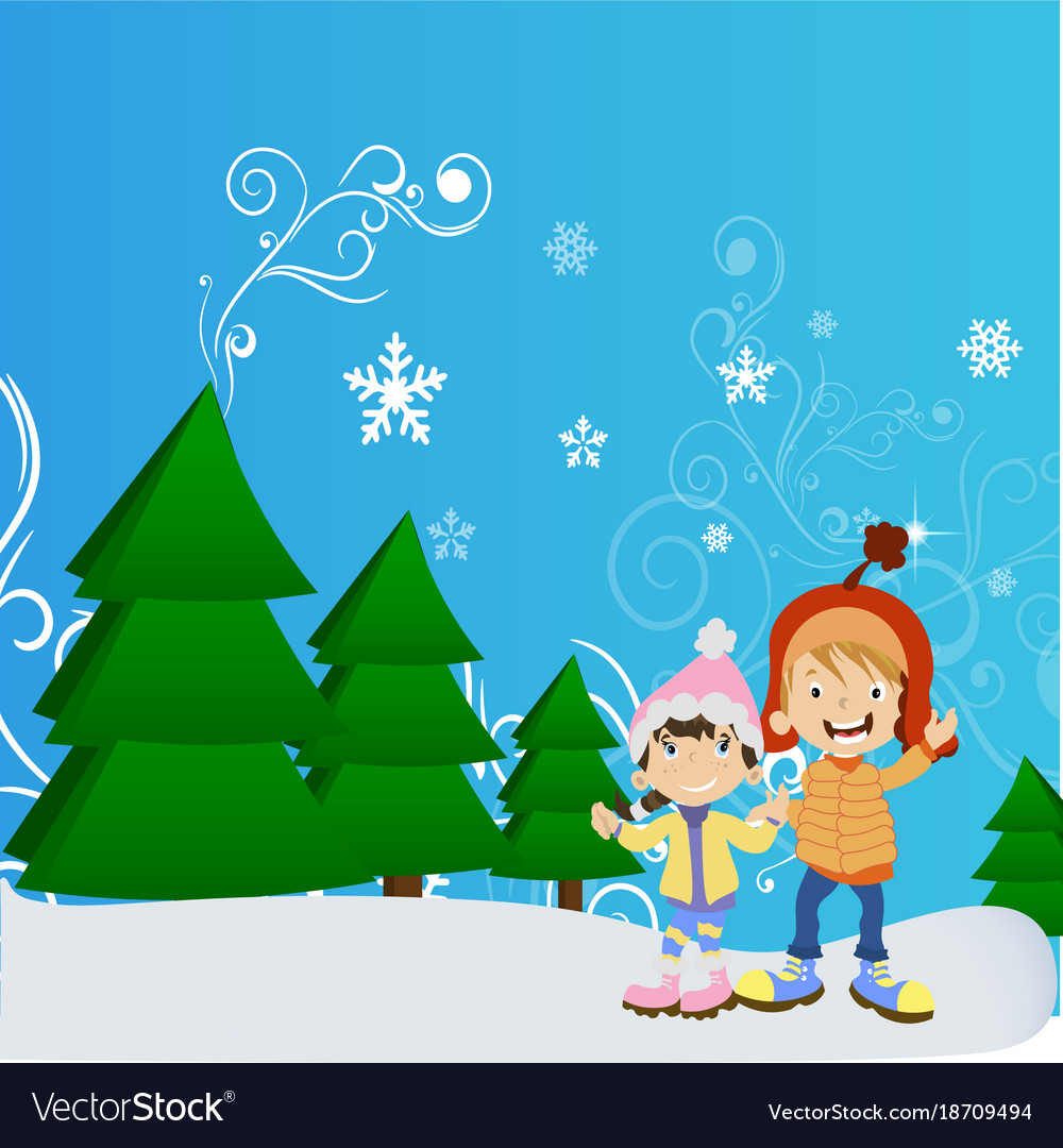 Happy winter cute kids vector image