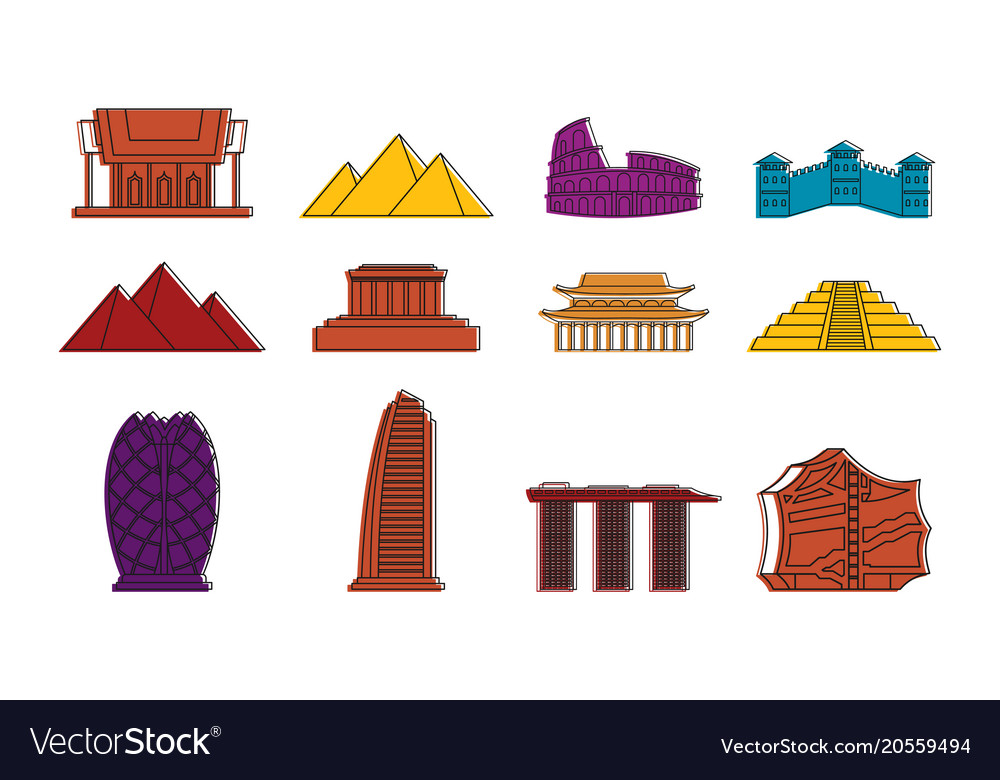 Hystorical bulding icon set color outline style vector image