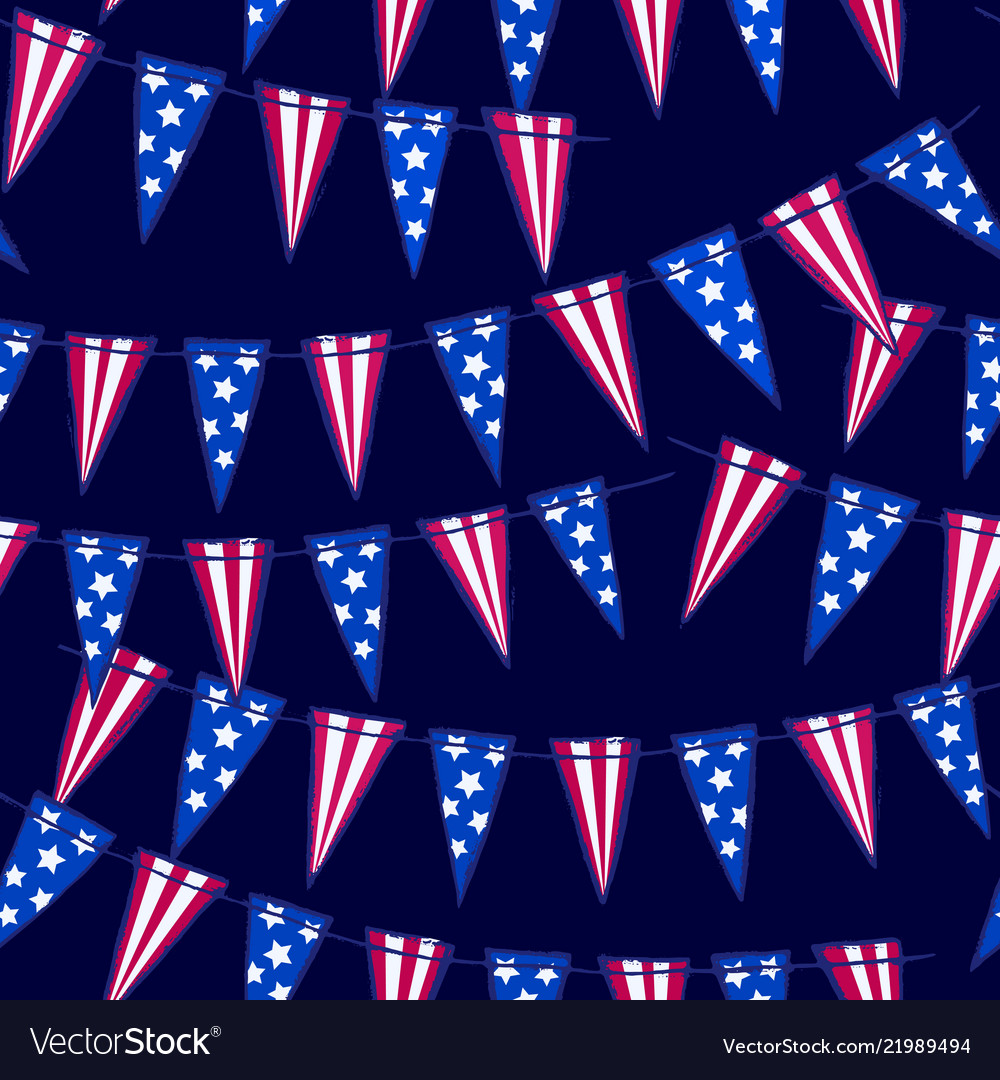 Ink hand drawn seamless pattern with american flag