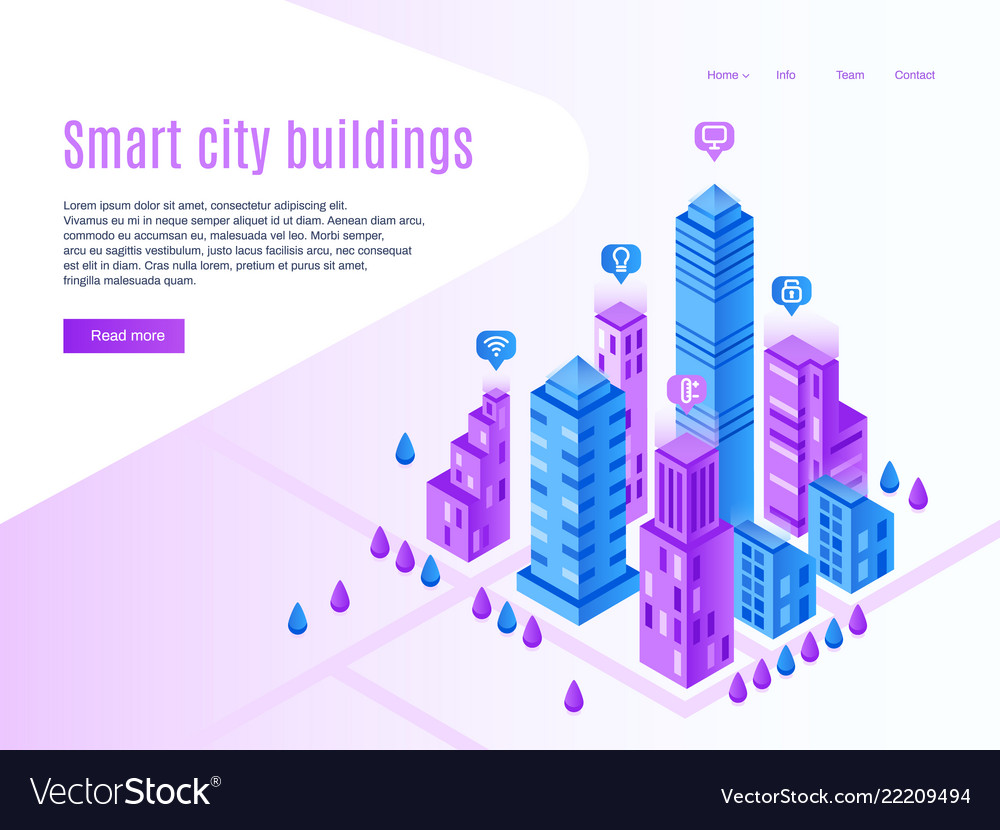 Intelligent city buildings urban landing page