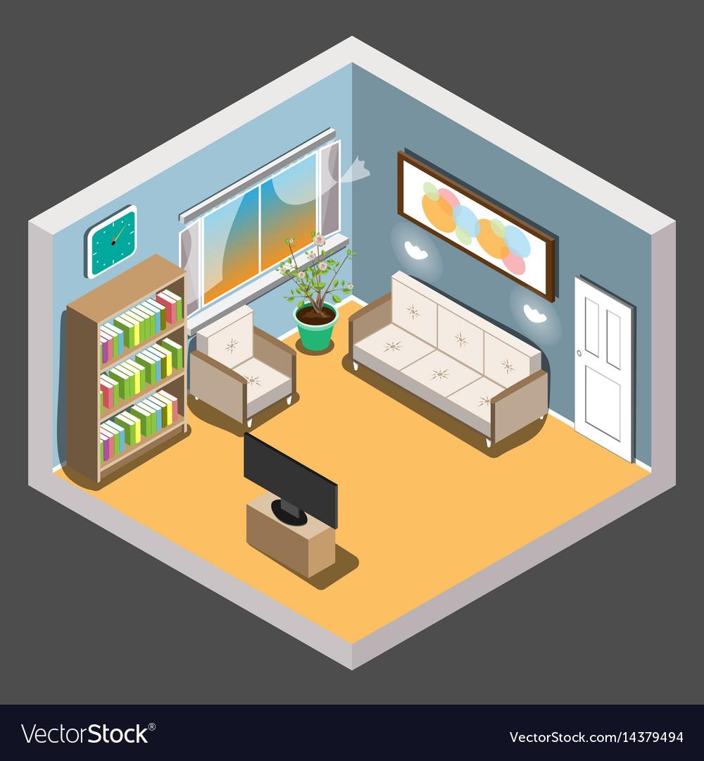 Isometric Living Room Vector Image