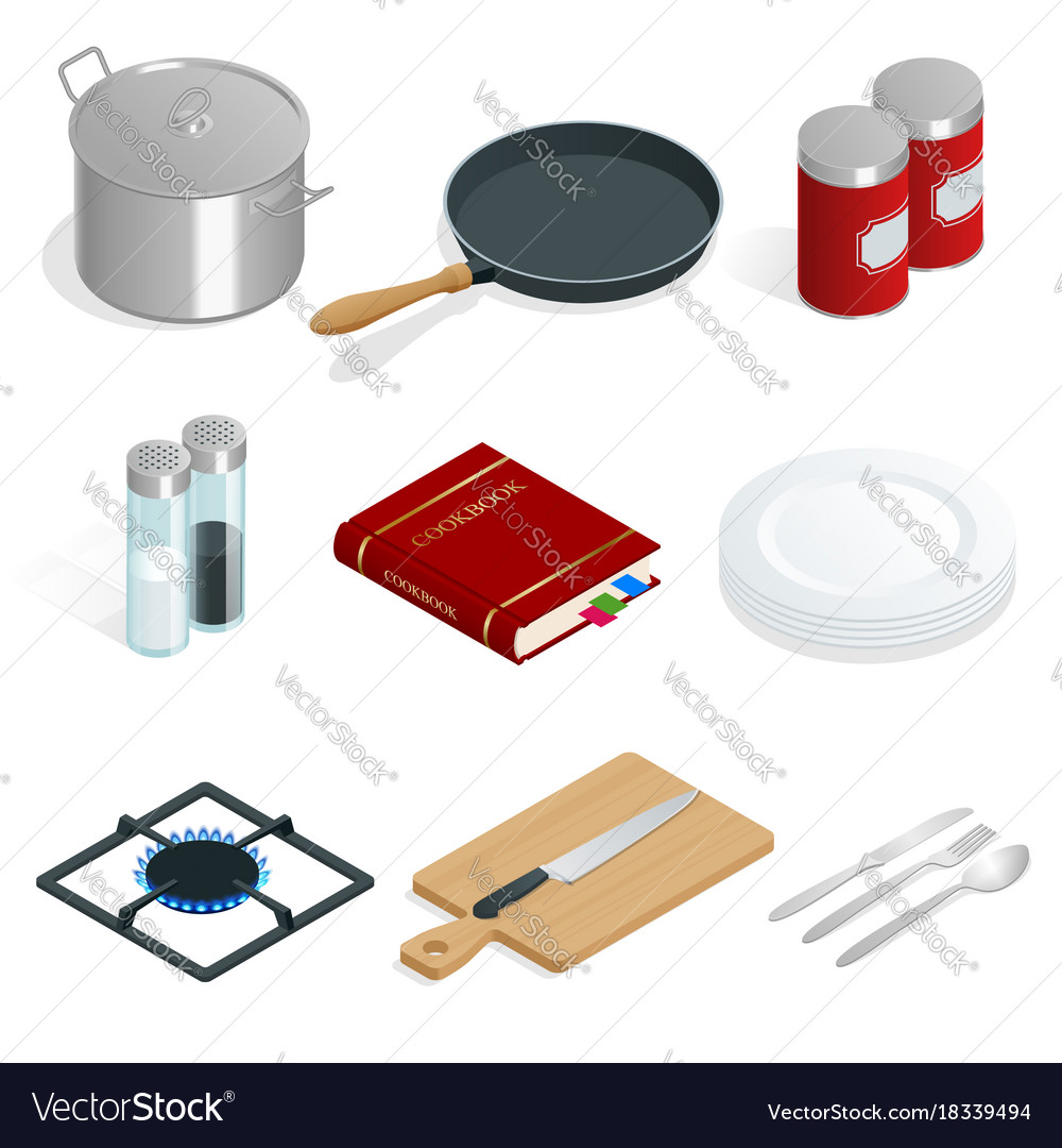 Isometric set of professional kitchenware vector image