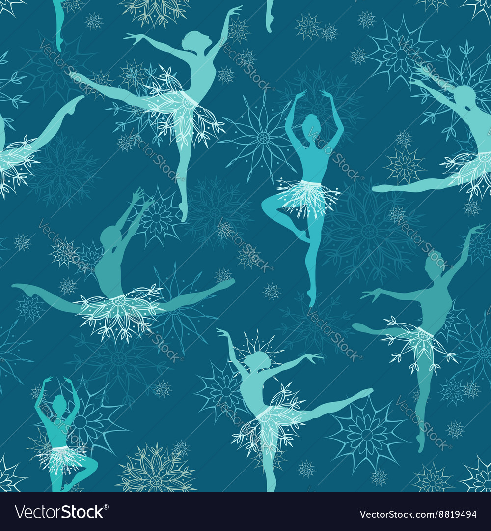 Seamless background of snowflake ballet dancers