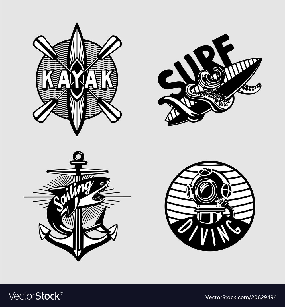 Water sport vintage embleme set with kayak scuba