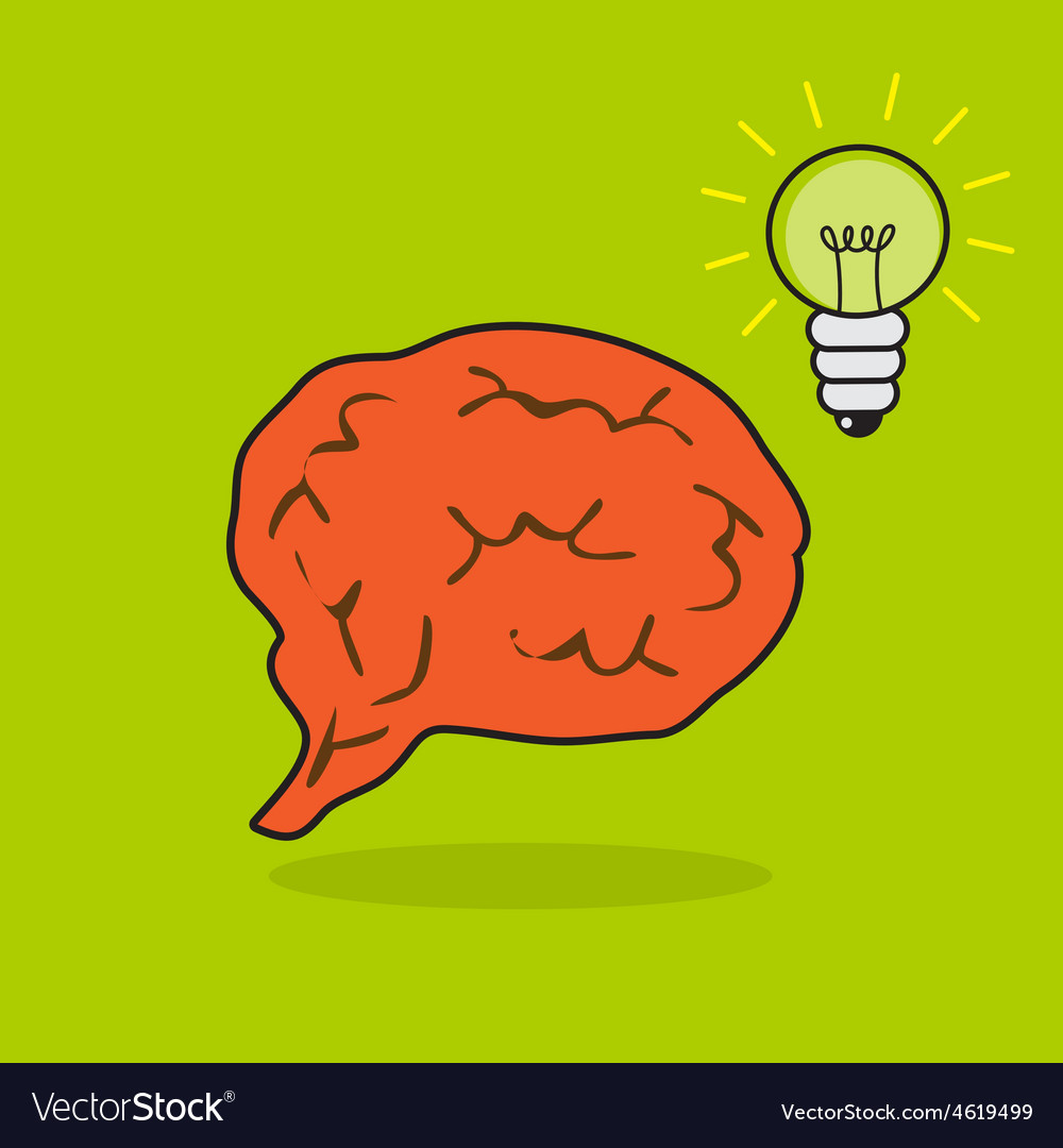 Brain and bulb vector image