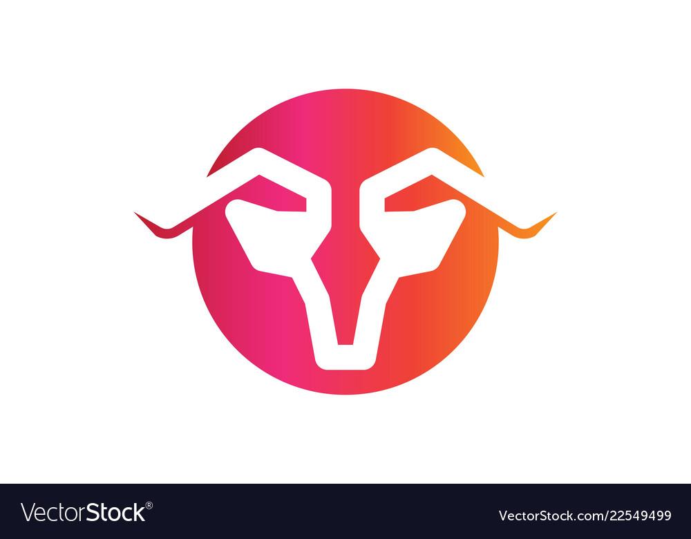 Bull goat horn logo designs inspiration isolated