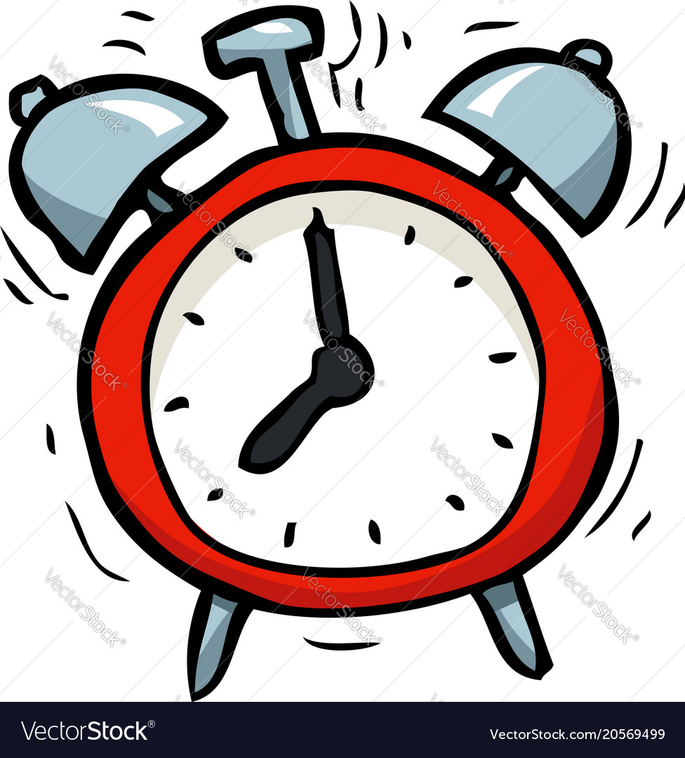 Cartoon doodle alarm clock