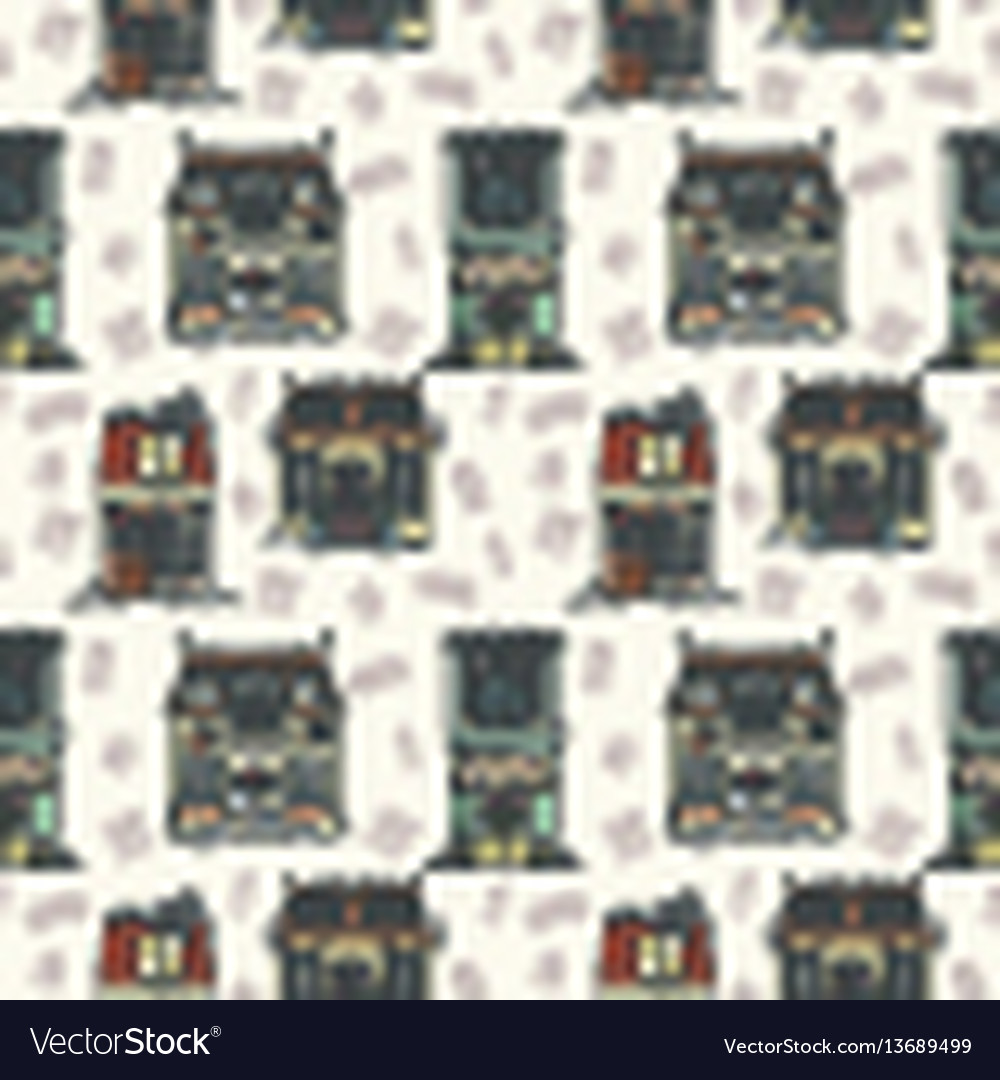 Christmas and new year house seamless pattern