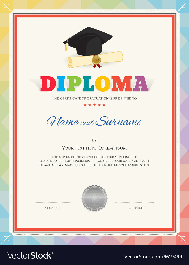 Colorful School Kid Diploma Certificate Template Vector Image