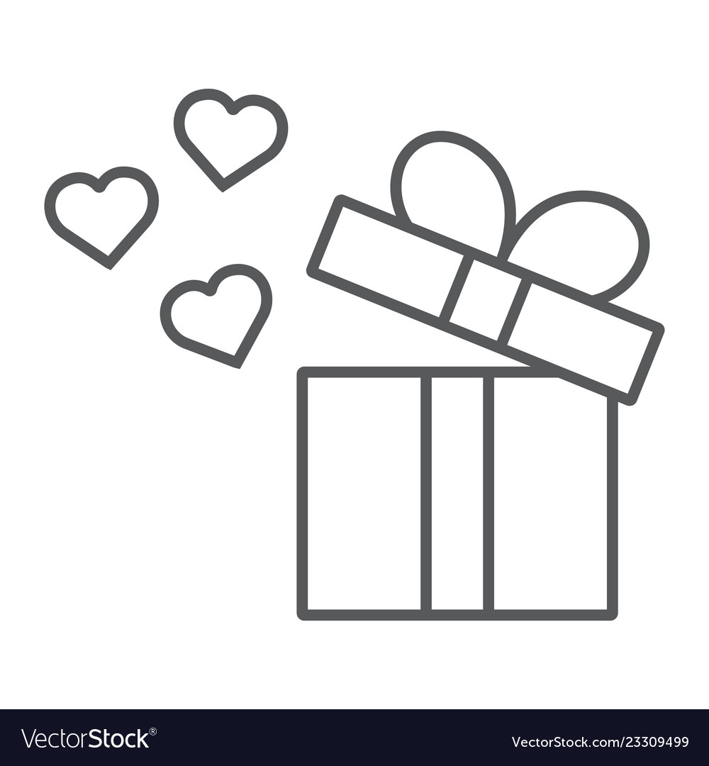 Gift thin line icon love and package gift box