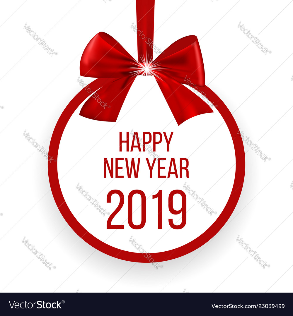 Happy new year 2019 greetin card with red bow