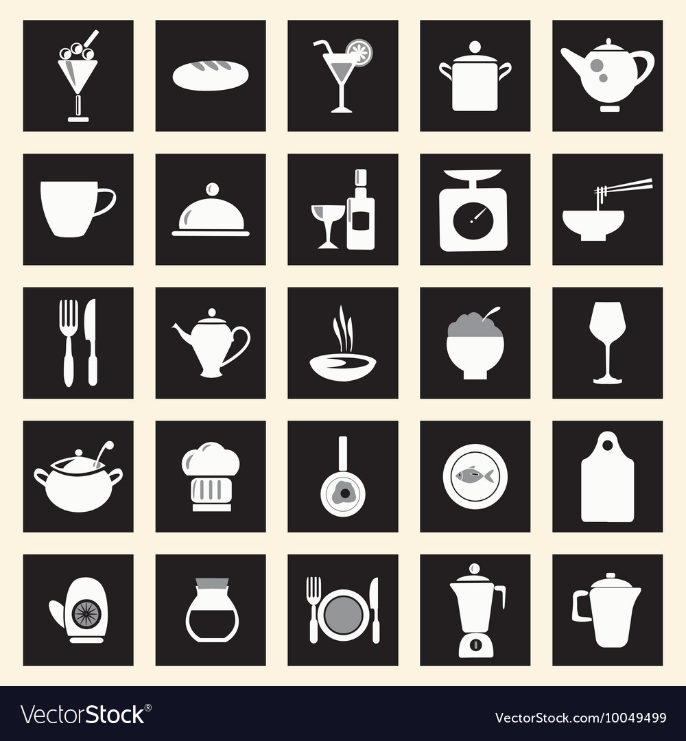 Icons set kitchen-related utensils Icons