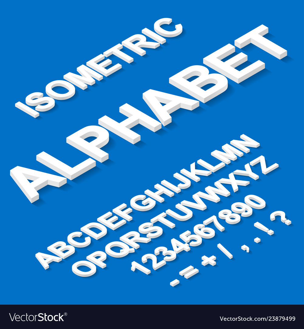 Isometric paper white alphabet on blue