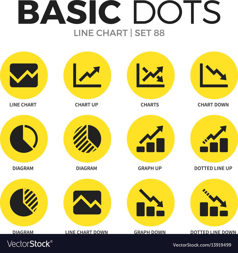 Line chart flat icons set