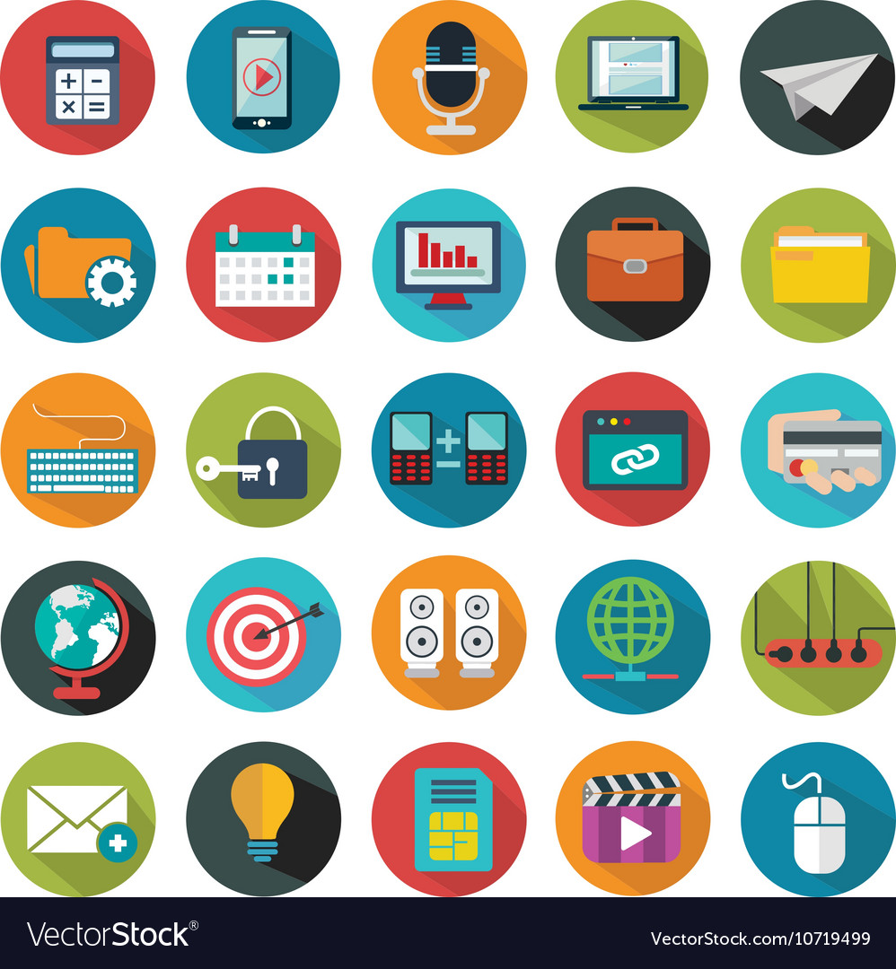 Modern flat icons collection with long