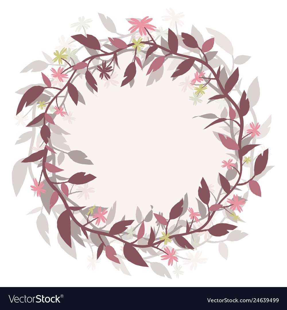 Round frame wreath image isolated from the