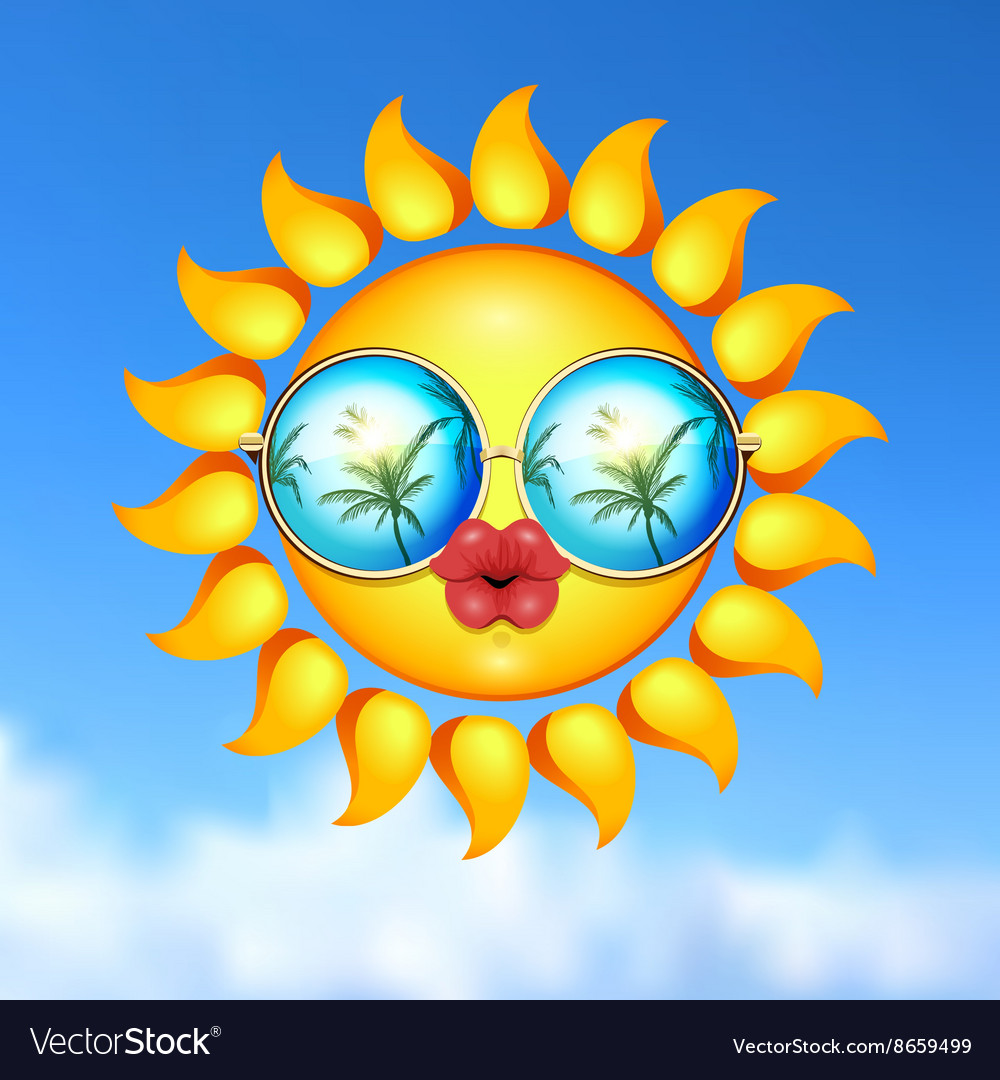 Summer Sun Face with sunglasses and full lips