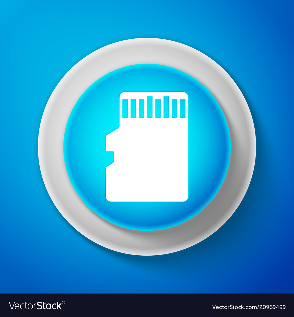 White micro sd memory card icon on blue background