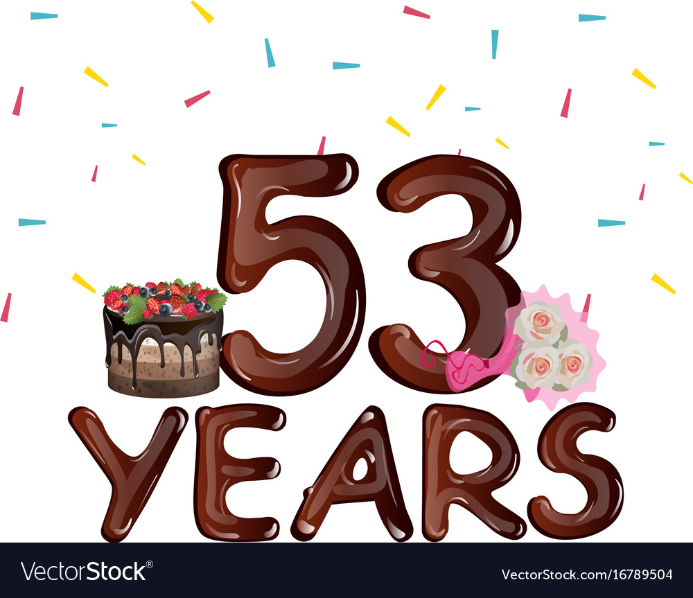 53 years birthday design for greeting cards vector image m4hsunfo