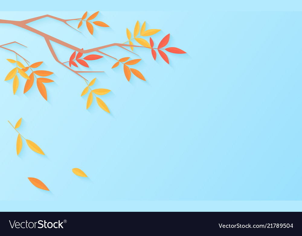 Autumn sale background with tree branch with