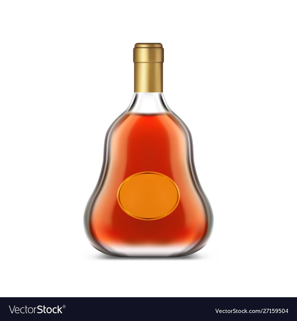 Bottle cognac with clear label or dark brandy