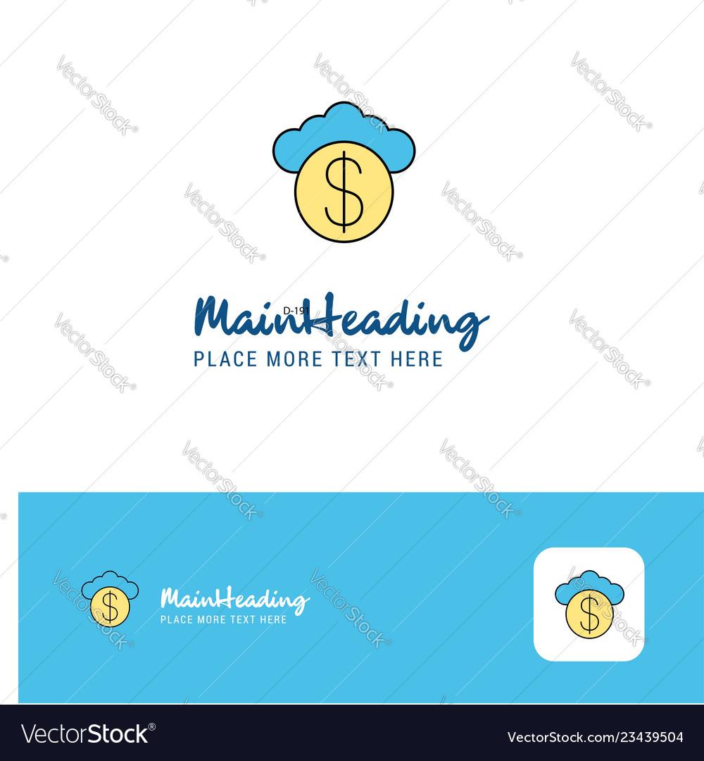Creative cloud dollar logo design flat color logo