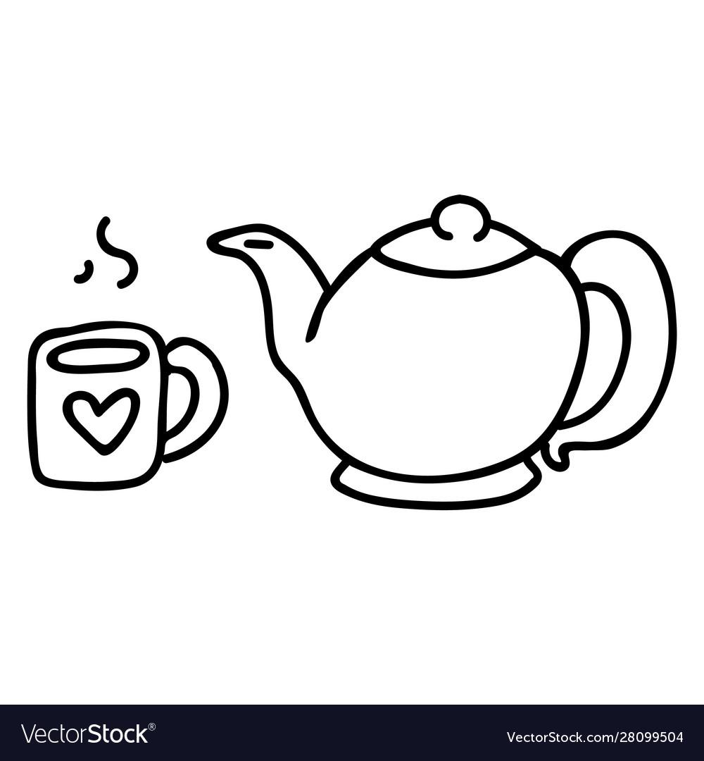 Cute Teapot And Mug Lineart Cartoon Royalty Free Vector