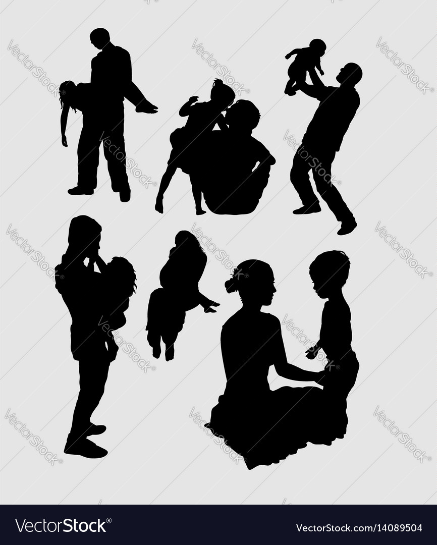 Family playing happiness silhouette