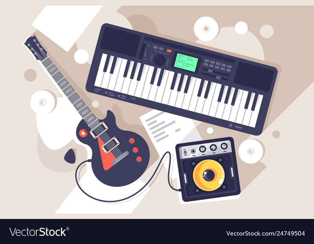 Flat music equipment with electrric guitar