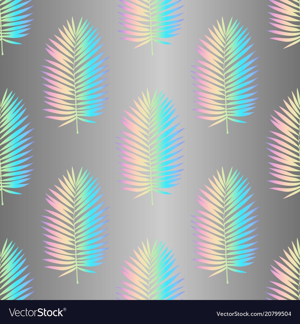 Holographic palm leaves seamless pattern