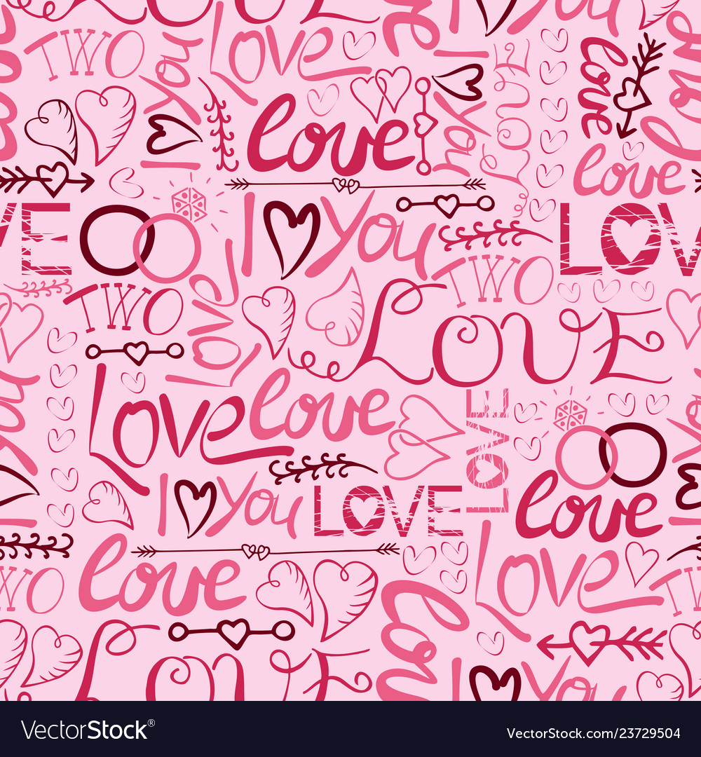 Seamless pattern with hand lettering and