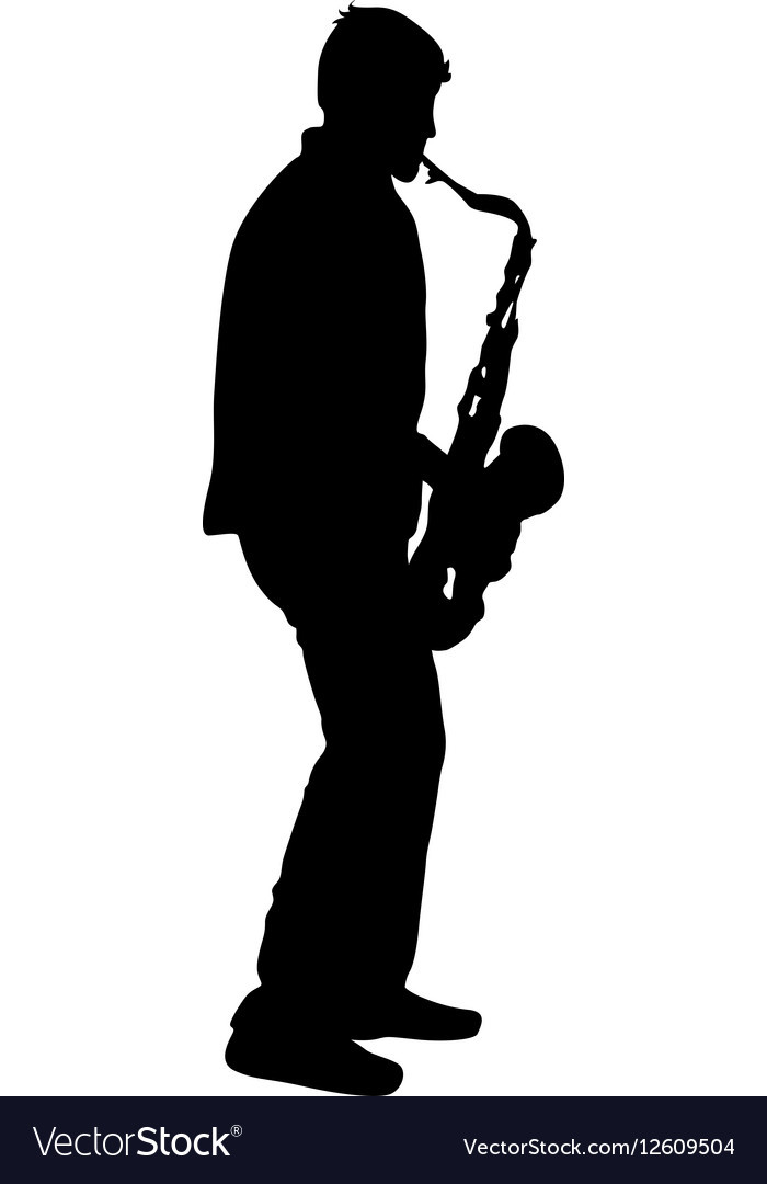 Silhouette musician saxophonist player on white