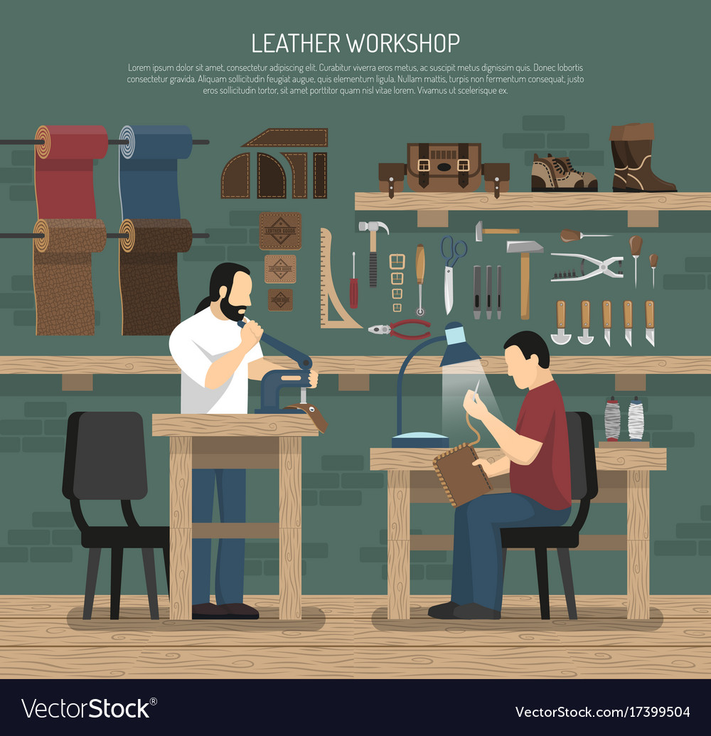 Skinners working in leather workshop