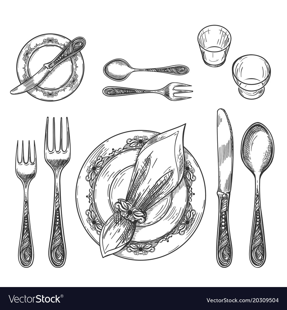 Table setting drawing vector image  sc 1 st  VectorStock & Table setting drawing Royalty Free Vector Image