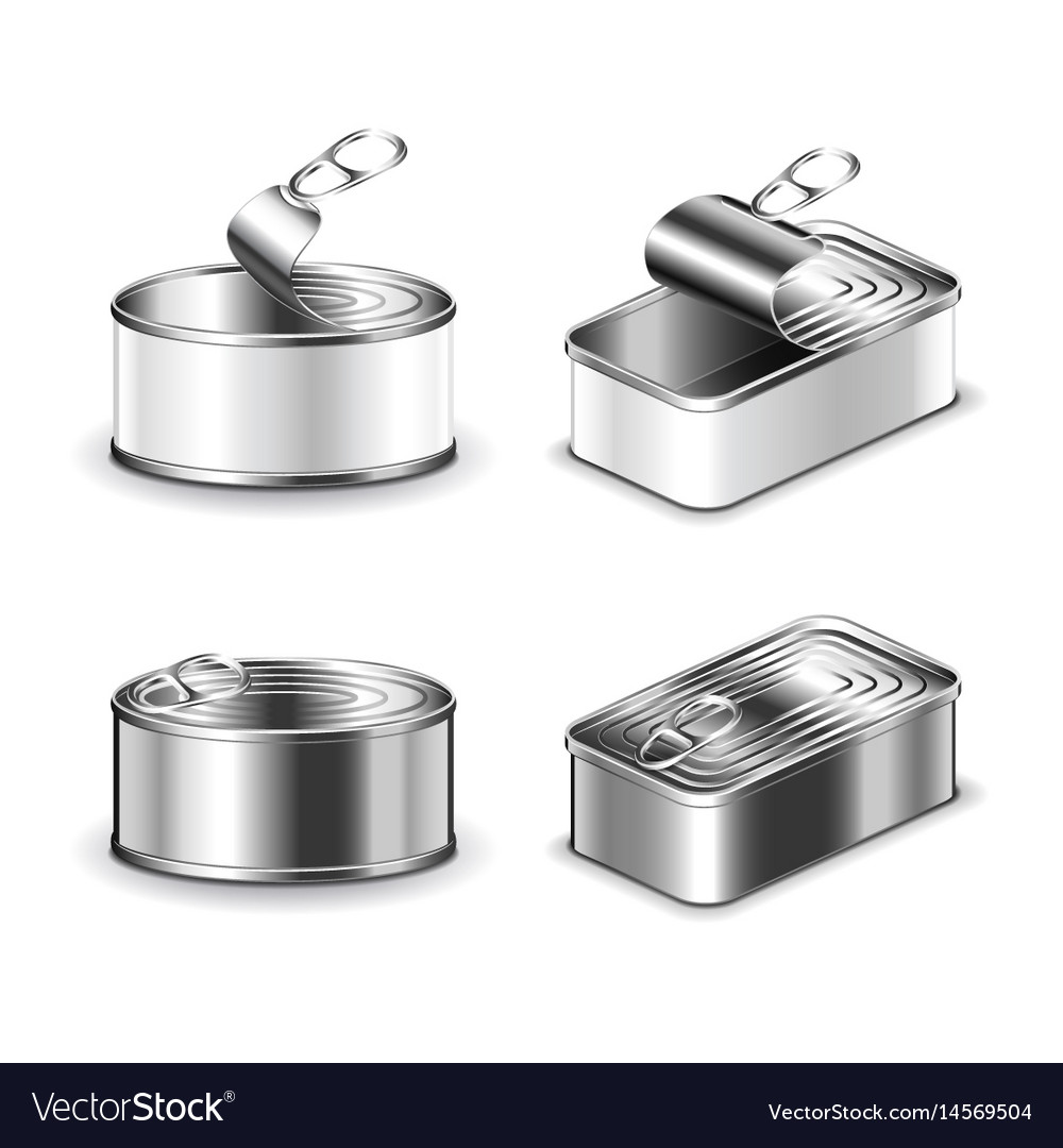 Tin can set isolated on white vector image