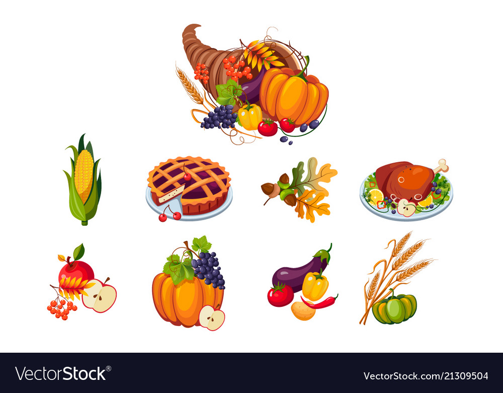 Traditional symbols of thanksgiving day set